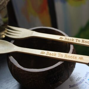 Coco Bowl and Bamboo Spoon and Fork